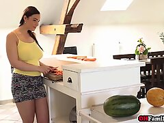 Chubby teen stepsister Sofia Lee helping brother relax