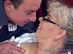 Stockinged old woman gobbles fat dick