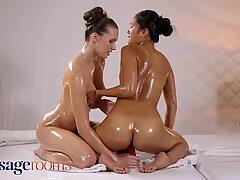 Massage Rooms Sexy Asian May Thai fucks Czech teen Stacy Cruz with dildo