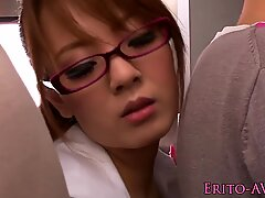 Attractive busty Japanese girl with glasses with huge tits sucks a stranger on the bus.