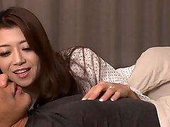 Delicious nymph from Korea exposes her hairy pussy and tight ass under her boyfriend's horny cock.