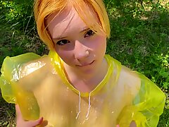Girl in Pvc Raincoat Suck Dick in the Forest