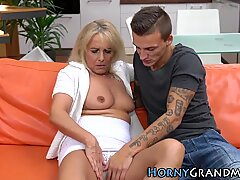 Small titted granny blows