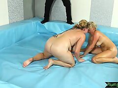 Titties bounce as thick chicks wrestle